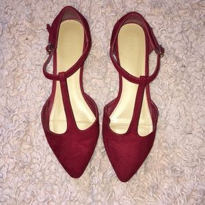 Forever 21 red suede t-strap pointed toe flats